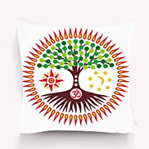 Jiuyiqibz4 Home Decorative Throw Pillow Case Polyester Cushion Cover 18 x 18 Inches Tree Life Sunny Halo Symbol Tree Life Sunny Halo Symbol Mandala