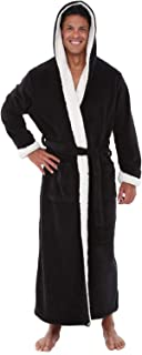 Men's Warm Fleece Robe with Hood, Big and Tall Sherpa Contrast Bathrobe