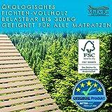 MaDeRa Natura XXL Rollrost, Massives Fichtenholz, unbehandelt, auch f. Kinder-Babybetten, Wohnmobile Größe 90 x 200 cm, 21 Leisten - 5