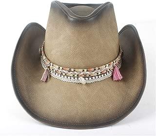 SXQ Summer Men's Women's Straw Hat Casual Denim Sunproof Western Cowboy Hat Fedora Hat Outdoor Travelling Beach Sun Hat with Tassel Braided Rope Decoration Gentlemen's Hat UV Protective Visor Cowgirl