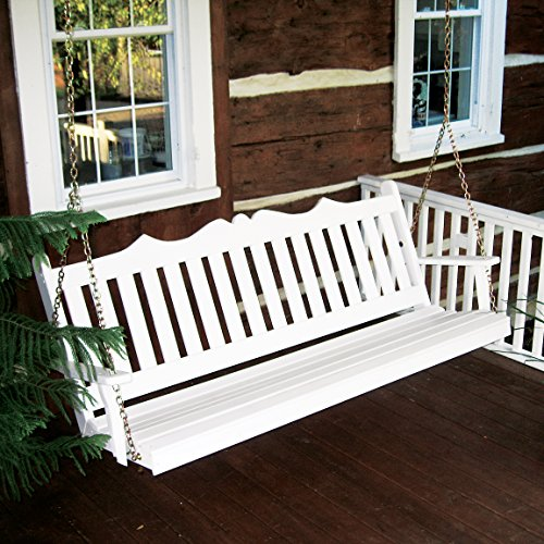 Dress the Yard Royal English Amish-Crafted Yellow Pine Porch Swing (6 Foot, White)