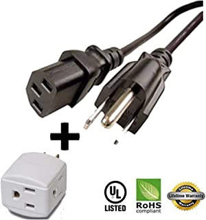 Huetron 25ft Power Cord for DYNEX DX-LCD32 DX-LCD37-09-02 TV MODEL + 3 Way Cube Tap