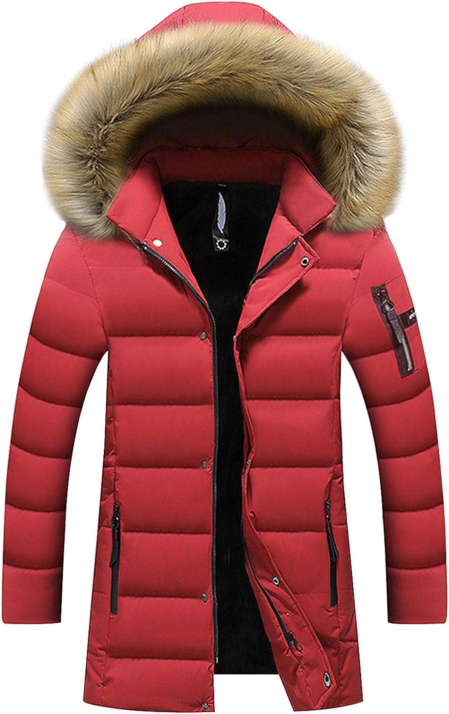 Gihuo Men's Winter Fleece Lined Puffer Parka Coat with Detachable Fur Hood