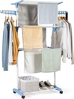 COSTWAY Wäscheständer faltbar, Wäschetrockner rollbar, Standtrockner, Kleiderständer mit Faltregalen, Schuhablage, schwenkbaren Haken Blau