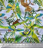 Soimoi Blau Satin Seide Stoff Äste, Papageien & Leopard