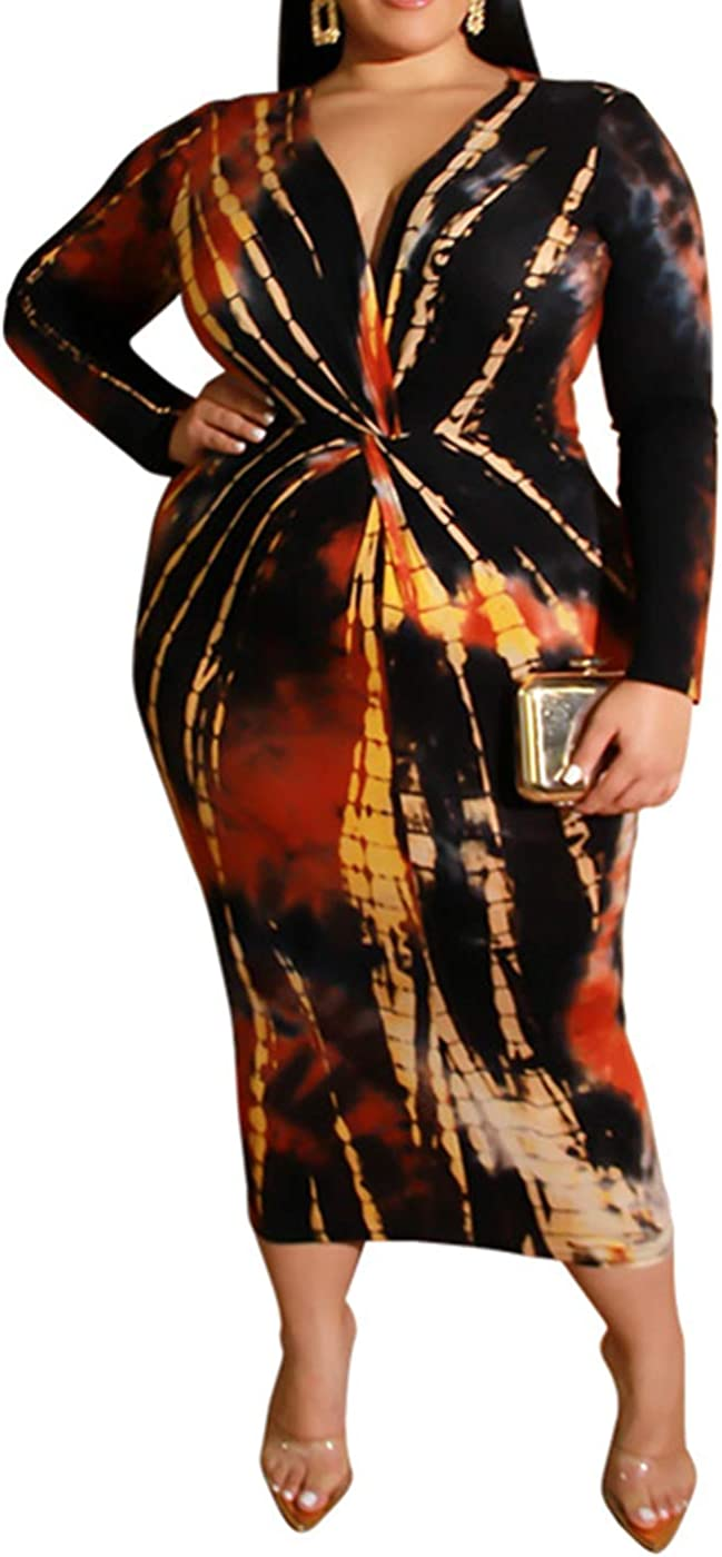 IyMoo Women Sexy Plus Size Dress - Club Outfits Floral Print V Neck Long Sleeve Tie Dye Party Bodycon Dress