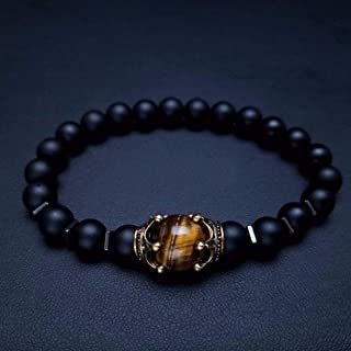 Stone Bracelet,Trendy Charm For Men Jewelry Fashion Luxury Blue Stone Bead Antique Crown Bracelets Male