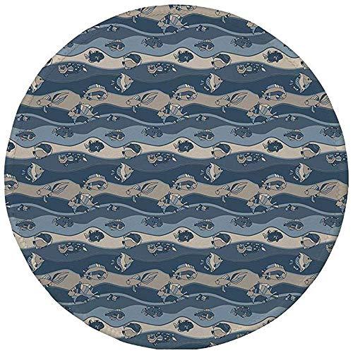 Ronde muismat, Vis, Aziatisch Geïnspireerd Geometrisch Aquarium Dier Geometrische Patroon Cartoon Stijl Decoratief, Leisteen en Cadet Blauwe Tan