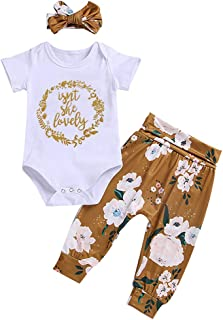 Xuuly Newborn Baby Girl Clothes Short Sleeve Cotton Bodysuit Tops Floral Pant and Headband Summer Outfit Set