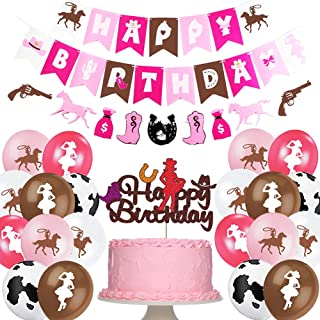 Western Cowgirl Theme Birthday Party Decorations Pink Brown for Girls Cowgirl Birthday Banner Boots Horses Garland Cake To...