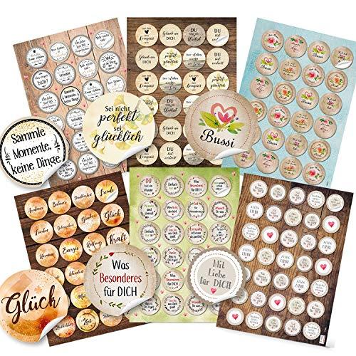 Logbuch-Verlag Sprüche Aufkleber SET 6 x 24 Sticker Motivation Kraft Mut Gesundheit Glückwunsch - Scrapbooking Verzierung Verpackung Basteln Sprücheaufkleber