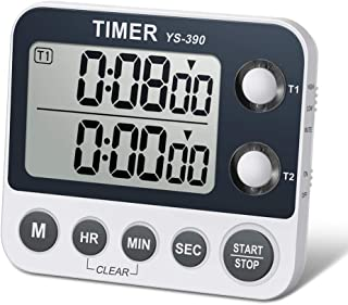 HomeMall Digital Dual Kitchen Timer, Cooking Timer, Dual Count Up & Down Timer with Magnetic Back, Large Display, Adjustable Volume and Flashing Alarm Light, ON/OFF Switch Stopwatch, Battery Included