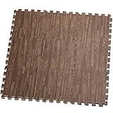 HemingWeigh Impreso el Grano de Madera Espuma antifatiga Rompecabezas – Grueso, Durable y Seguro para Todas Las Edades - Conjunto de 9 Azulejos (marrón Oscuro)