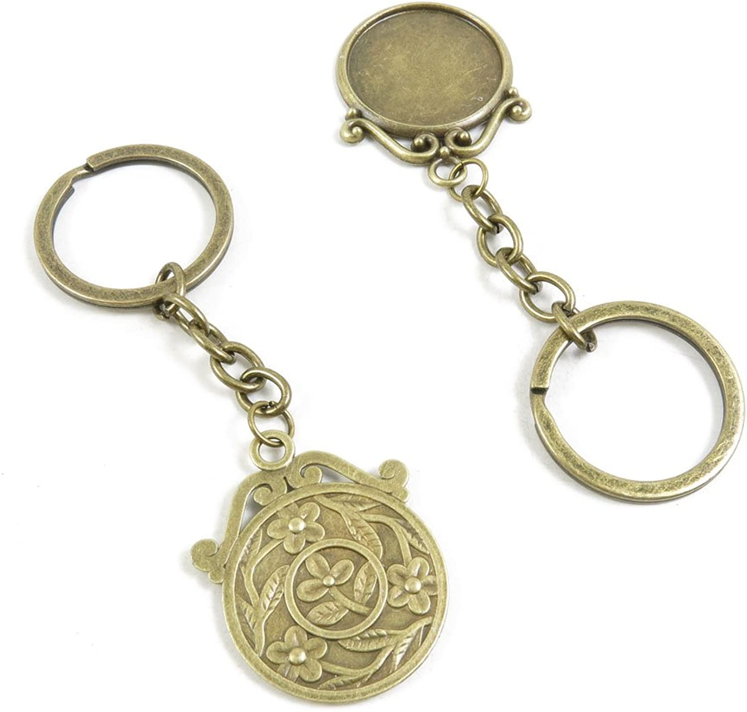 160 Pieces Fashion Jewelry Keyring Keychain Door Car Key Tag Ring Chain Supplier Supply Wholesale Bulk Lots I3AB1 Round Cabochon Base Blank 25mm