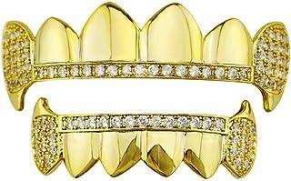 YHDD 歯セット - メッキゴールドクルーズダイヤモンドGrillz - 歯のすべてのタイプのための優れたカット - 上下のグリルセット - ヒップホップブリンブリンGrillz (色 : ゴールド)