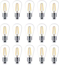 15 Pack S14 2W LED Edison Light Bulbs Waterproof Vintage LED Filament Bulb E26 Screw Base