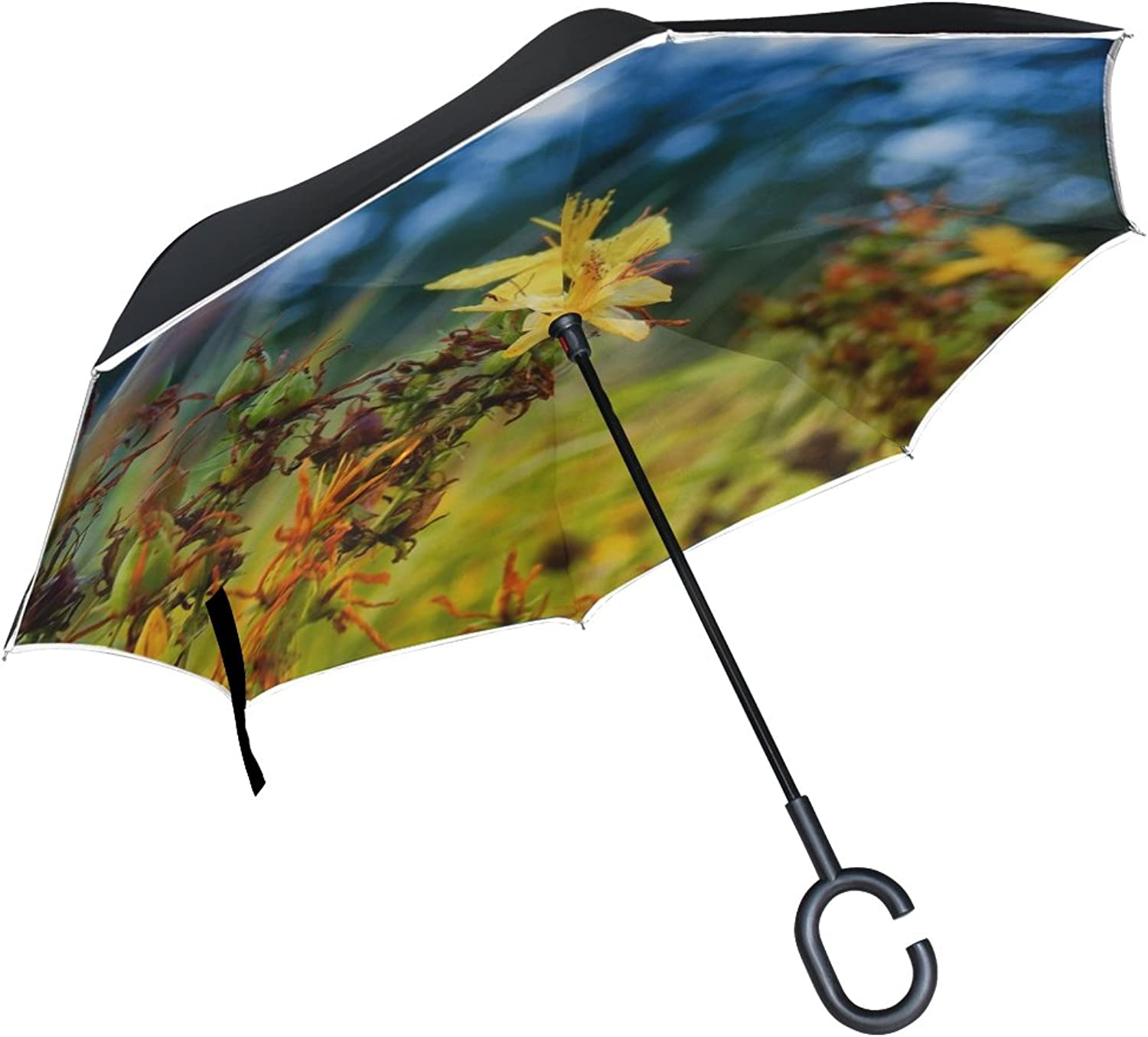 Double Layer Ingreened Tutsan Vulnerary Plants Grass Field Flora Meadow Umbrellas Reverse Folding Umbrella Windproof Uv Predection Big Straight Umbrella for Car Rain Outdoor with CShaped Handle