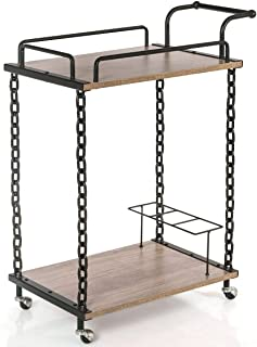 Taltintoo20 2-Tier Rolling Kitchen Bar Serving Cart Wine Trolley Chain Style Kitchen Island, Size 29''L×16''W×36.5''H, 32 lbs for Kitchens, Living Rooms, Restaurants, Bars, Etc.