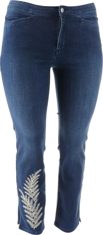 Dennis Basso Stretch Denim Slim-Leg Zip-Front Jeans Medium Wash 18W New A349307