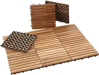 Nordic Style Interlocking Natural Teak Wood Flooring Tiles 9 slats, 10 pcs per Box (10sq ft)