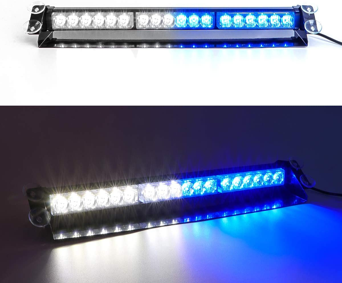 SMALLFATW 18 LED 9 Flash Patterns High Intensity Emergency Vehicles Trucks Warning Traffic Advisor Strobe Light Blue//White