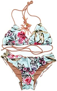 LUCA Womens Sexy Flower Swimwear Printing Bandage Tankini Beach Two Piece Bikini Set Swimsuit Bathing Suit