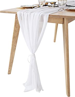 1 Piece White Chiffon Table Runners 27x120 Inches Sheer Bridal Party Romantic Wedding Reception Decorations