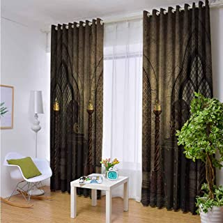 Outdoor Privacy Curtain for Pergola Gothic,Fantasy Scene with Old Fashioned Wooden Torch and Skull Candlesticks in Dark Spooky Room,Brown,W108