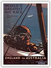 England to Australia - World's Greatest Air Race for The MacRobertson Trophy, Victorian & Melbourne Centenary - Vintage World Travel Poster by Percy Trompf c.1934 - Master Art Print - 9in x 12in