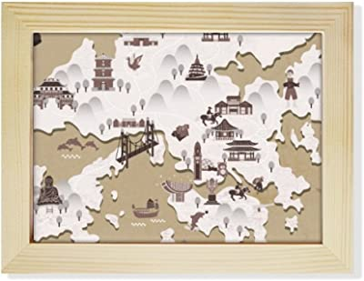 DIYthinker Hong Kong Location Map China Desktop Wooden Photo Frame Picture Art Painting 6x8 inch