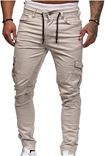 Mogogo Mens Pure Mid-Rise Beam Foot Patched Pockets Trim-Fit Casual Pants