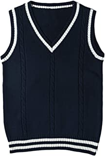 Lentta Women's Basic V Neck School Uniform Cosplay Cable Knit Sweater Pullover Vest