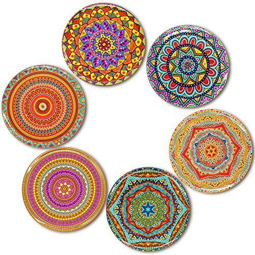 BOHORIA® Premium Design Posavasos (Set de 6) - Posavasos decorativos para vidrio, copas, floreros, velas en su mesa de comedor en madera, vidrio o piedra (Ronda   9cm) (Edición) (Woodstock)