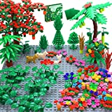 """🌴 【Botanical Collection Set 】- This botanical garden building set contains 450+ accessories such as trees, plants, bushes, leaves, animals, and buildable flowers, also include 2 PCS 5"""" x 5"""" baseplate.Compatible All Major Brands. 🌴【Creative Building C..."""
