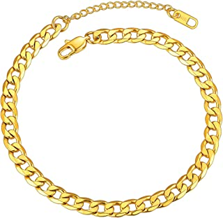 Mens Anklet Gold Plated Anklet 6mm 8.5 inch Resizable Cuban Link Ankle Chain for Women