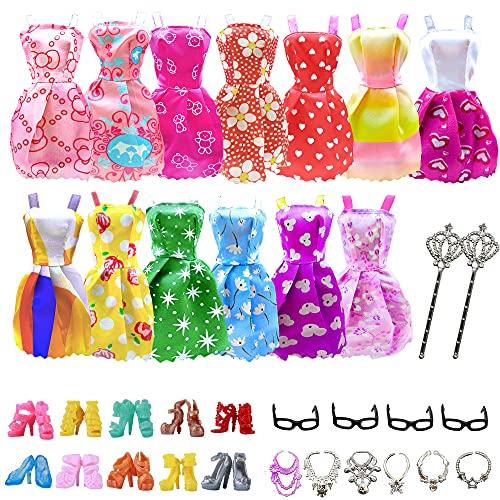 32 piezas de accesorios para muñecas, ropa de barbie, 10x vestidos lindos mezclados, 10x zapatos, 4X gafas, 6X collares, 2X varitas