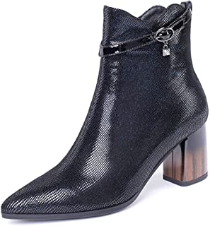 GULI Ms. Martin Boots Pointed high Heel Thick with Belt Buckle Bare Boots Boots