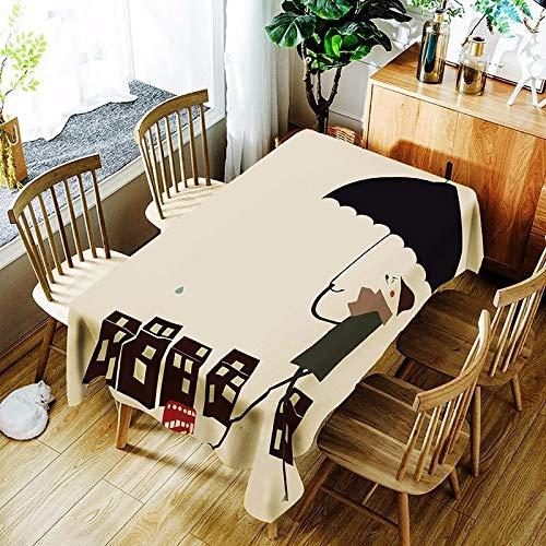 XXDD Mantel de Loto 3D Fondo Puro Flor de Diente de león y patrón de niña Cubierta de Mantel Impermeable y a Prueba de Polvo A7 135x200cm