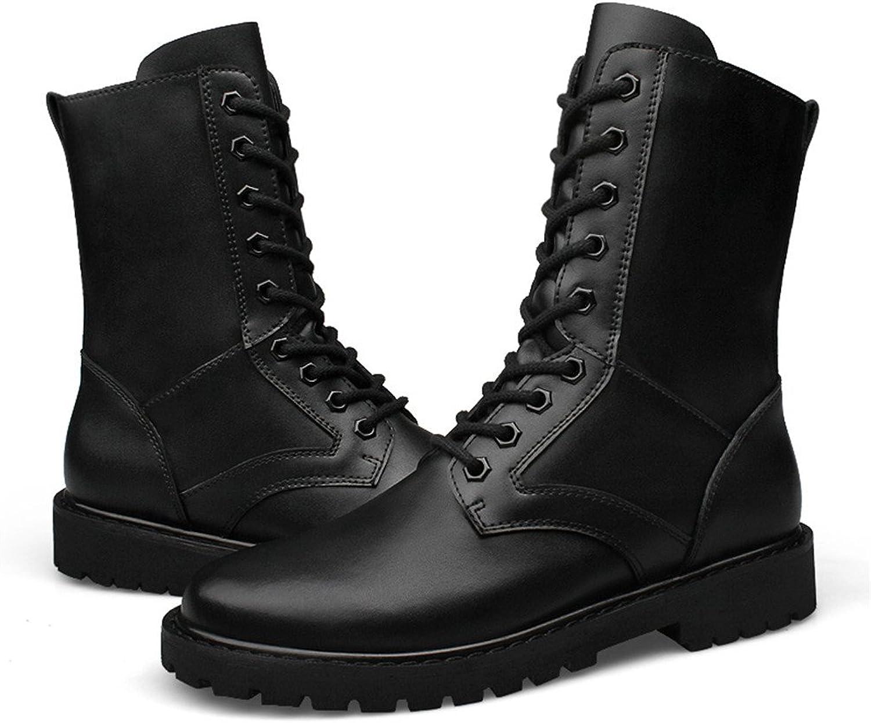 Dig dog bone Men's Fashion Middle Boots Leather High Top Military Elevator shoes (Warm Velvet Optional)