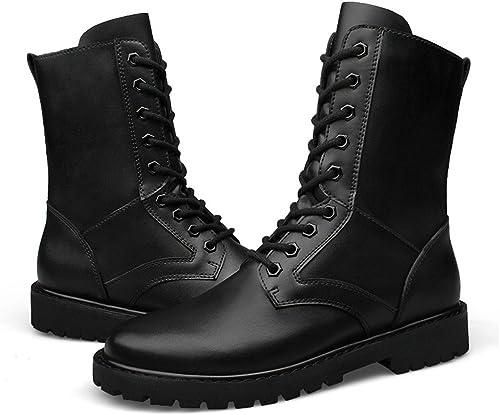 Easy Go Shopping Mode Homme Chaussures en Cuir Haut Haut Haut Haut élévateur Militaire Chaussures (Velours Chaud en Option) Chaussures de Cricket (Couleur   Noir, Taille   37 EU) 6b6
