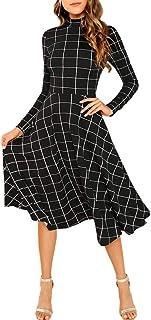 SOLY HUX Mujer Vestidos Largo, Elegante y de Manga Larga, con Cuadros, para cóctel, Fiesta o Fiesta