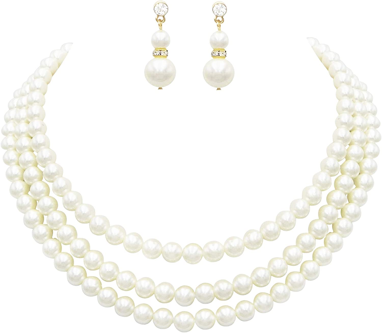 """Rosemarie Collections Women's Multi Strand Classic 8mm Faux Pearl Necklace and Earrings Jewelry Set, 16""""-19"""" with 3"""" Extender"""
