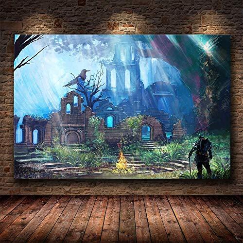 WIOIW Juego 3D Dark Souls 3 Personajes Espada Caballero Guerrero Asesino Lucha Lienzo Pintura Arte de la Pared Cartel Impresiones HD Imagen Fans Dormitorio Sala de Estar Club Decoración del hogar