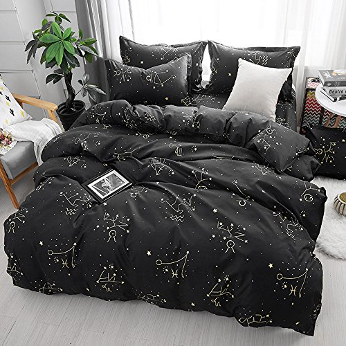 ZHH E-COMMERCE Mysterious Zodiac Duvet Cover Set, Galaxy Starry Sky Theme Bedding Set Luxury Soft Constellation Pattern Comforter Set 3Pcs, Kids Quilt Cover (1 Quilt Cover + 2 Pillowcases, King Size)