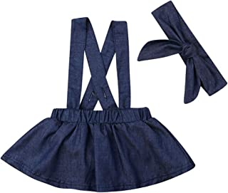 XBTCLXEBCO Toddler Baby Girls Suspender Strap Skirt Denim Overall Dresses Casual Jumper Dress