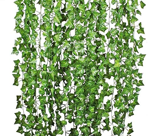 HoneyGirl 3D Artificial Ivy Garland Fake Greenery Vines Leaves for Wedding,Table, Cabinet Decoration, Simulation Green Leaves Wall Decor(Boston Ivy)