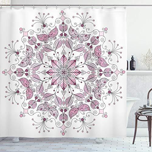 ABAKUHAUS Lila Mandala Duschvorhang, Pastell Lotus, Moderner Digitaldruck mit 12 Haken auf Stoff Wasser & Bakterie Resistent, 175 x 200 cm, Weiß Hellrosa
