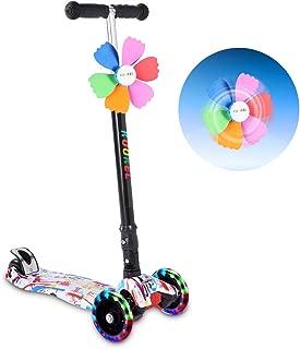 Kick Scooters for Kids, KUOKEL Folding Kick Scooter Height Adjustable LED PU Flashing 4 Wheels Colorful Foldable with Gorgeous Graffiti Mini Winnower, Kids Gift for Birthday, Holiday