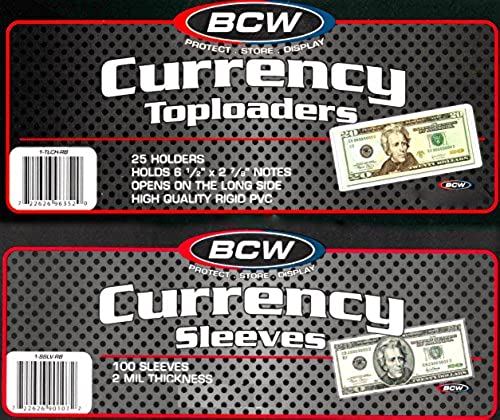 100 Ct. BCW Currency Top Loaders TLCH-RB Rigid Holders For Regular Bills Plus 100 Sleeves by BCW