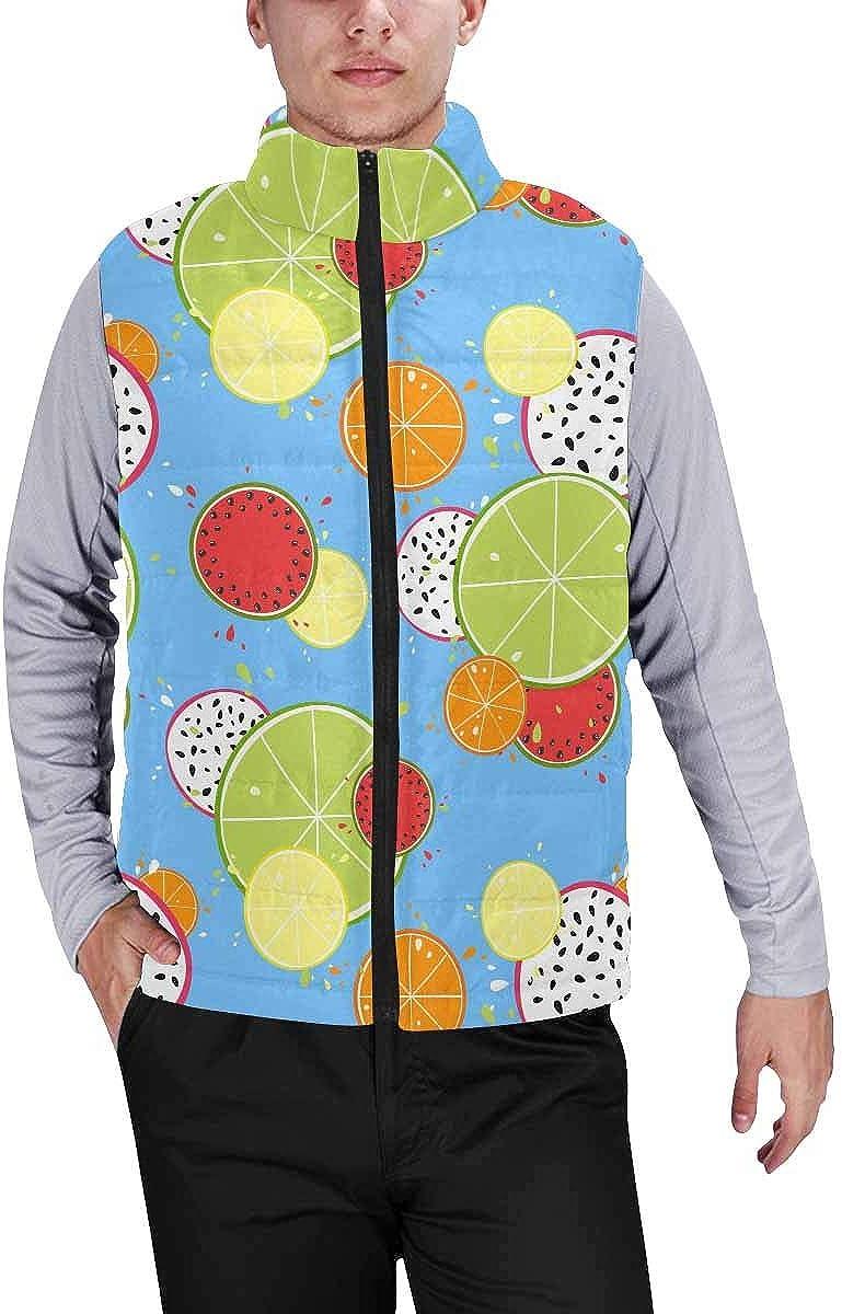 InterestPrint Men's Winter Full-Zip Outwear Padded Vest Coats Laziness Sloth